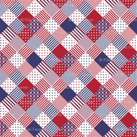 Patchwork Fabric Usa - usa americana patchwork white blue quilt patterns