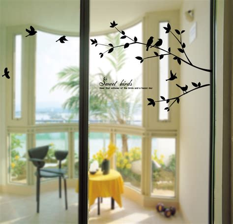 decorative window stickers for home birds tree wall decals removable decorative home decor