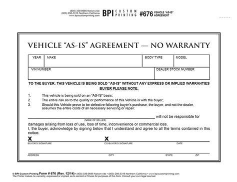 Vehicle As Is Agreement Bpi Custom Printing No Shop Agreement Template
