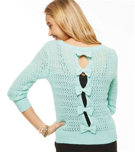 Backtothe Sweater open stitch bow back sweater on the hunt