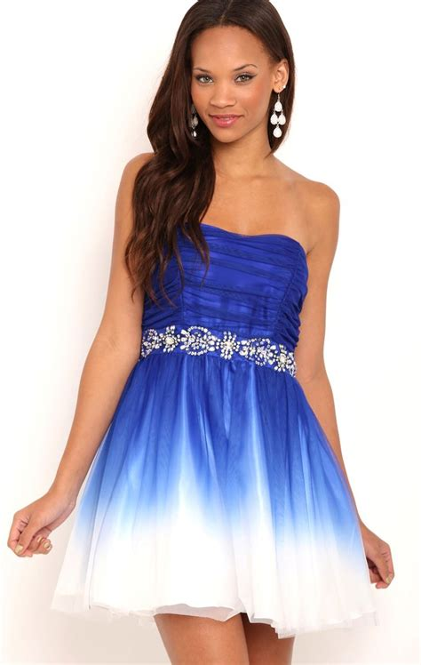 Dress Sweet Blue strapless royal blue and white ombre dress with trim waist so prom and