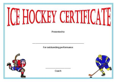 hockey certificate templates 25 printable hockey certificate templates for youth