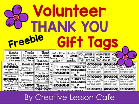 printable volunteer tags creative lesson cafe volunteer gift ideas and free