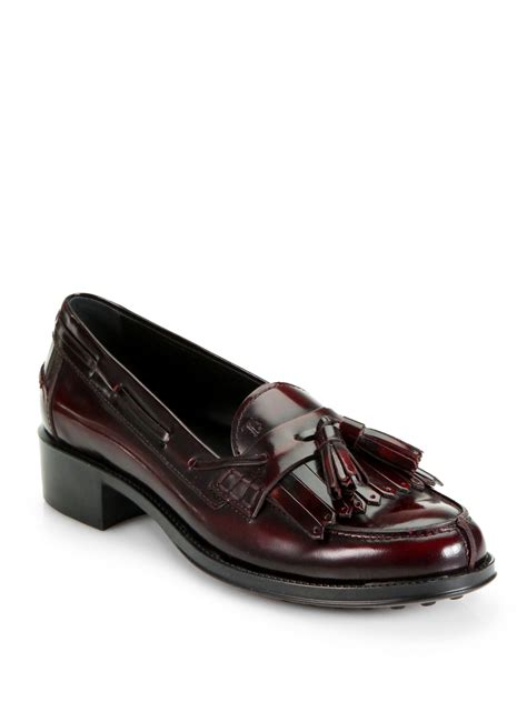 tassel loafer tod s leather kiltie tassel loafer pumps in must lyst