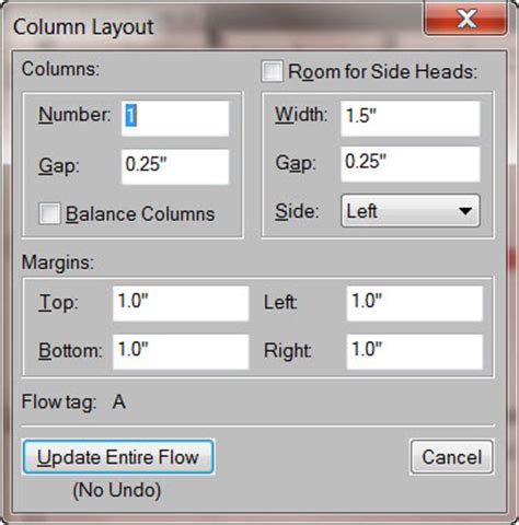 layout dialogue box word 2010 how to configure column and header layout for a framemaker