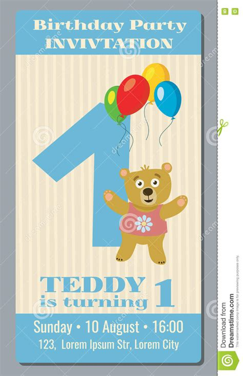 one year birthday card template birthday invitation card with vector