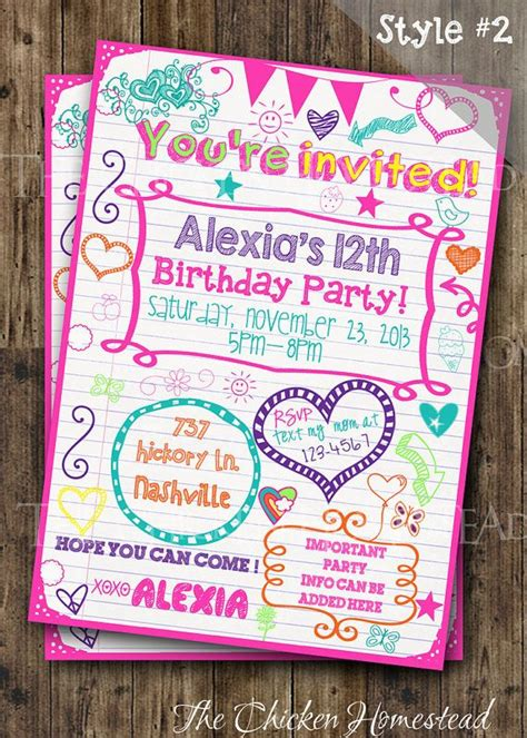 16 free printable party invitations poppytalk custom girl s sweet 16 tween teen sleepover doodle