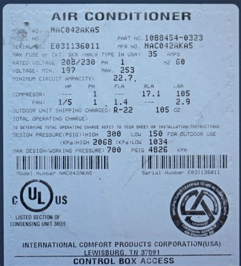 international comfort products serial number air conditioner date codes