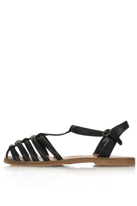 topshop closed toe sandals topshop hi caged closed toe sandals in black lyst