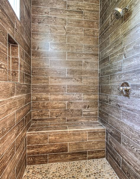 Walk In Bath Shower Combinations wood tile