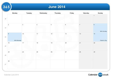 Calendar June 2014 Calendar June 2014