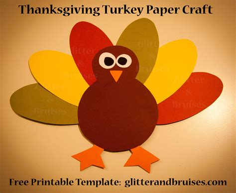 Construction Paper Turkey Craft - 8 best images of free printable thanksgiving turkey