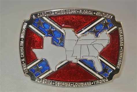 Quot Confederate States Quot Heavy Cast Epoxy Inlay Buckle Eb2444
