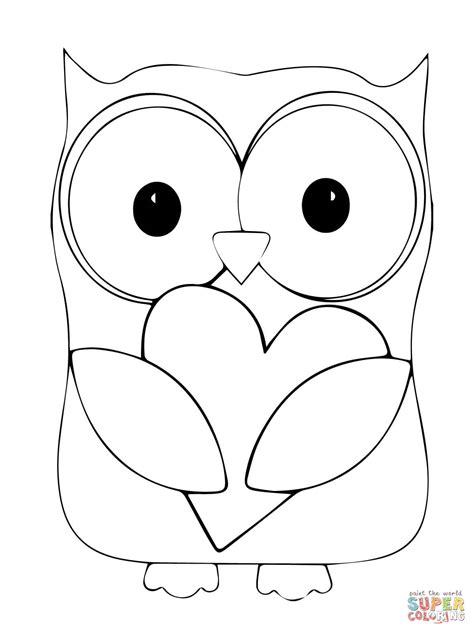 valentine owl coloring page valentin day owl hugging a heart coloring online super