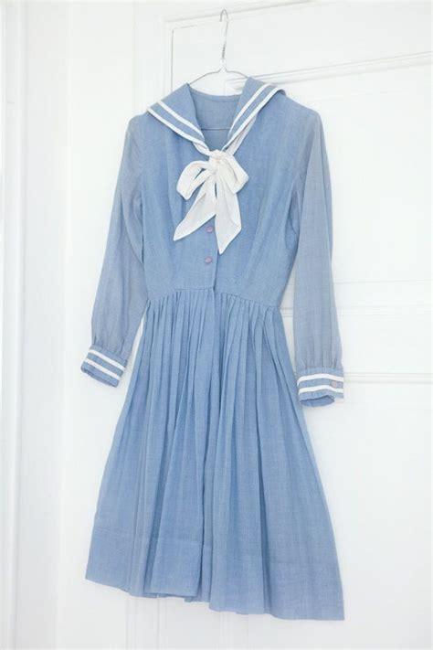Dres Sailor F 1950 s vintage summer pin up blue sailor dress vintage