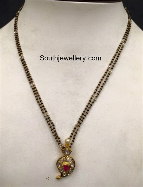 small black jewellery designs two line black chain with small mango pendant