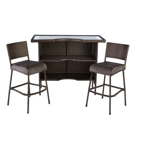 hton bay beverly 3 wicker outdoor patio bar set