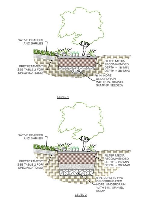 rain garden section bioretention