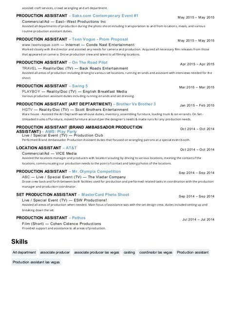 Production Assistant Resume by Maureen Edwards Production Assistant Resume