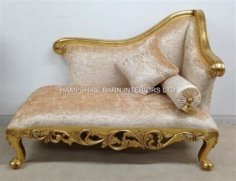 gold crushed velvet sofa small chaise longue ornate gold leaf crushed velvet