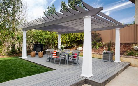 Gold And Grey Living Room low maintenance engineered pergola kits by trex