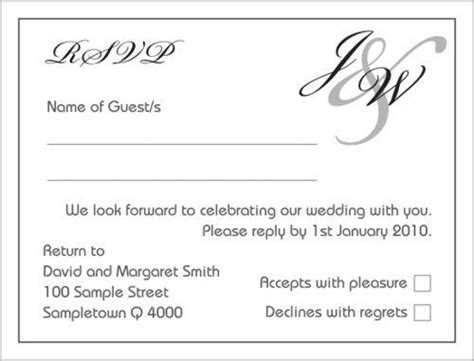rsvp template for event rsvp regrets to bridal tea invitations ideas