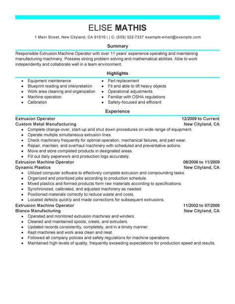 extrusion operator resume exles production resume sles livecareer