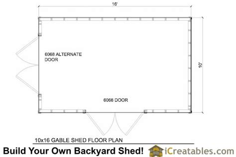 10 X 16 Shed Floor by 10x16 Gable Shed Plans With Taller Walls