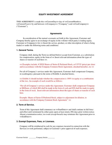 Equity Investment Agreement Template doc 728942 simple investment agreement cover letter