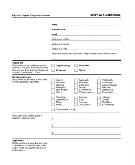 questionnaire template 9 free word pdf documents