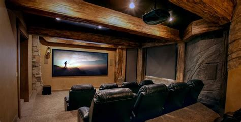 home theater design utah residential project rustic home theater las vegas