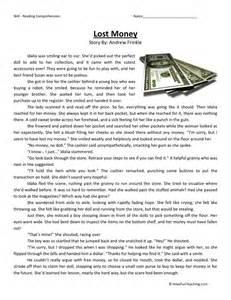 reading comprehension worksheet lost money