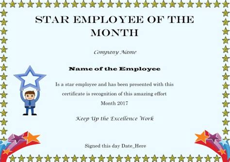 of the month certificate template and employee of the month certificate
