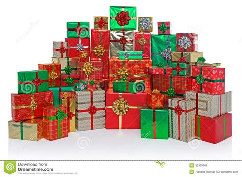 gift wrapped christmas presents isolated on white stock