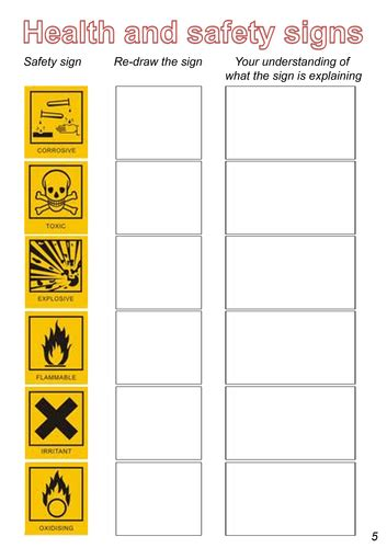 Health And Safety Worksheets For Students by Health And Safety Including Coshh By Gwilly Teaching