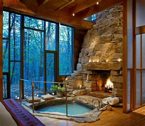 Log Cabin With Indoor Tub idea for log cabin ideas for the house fireplaces and the fireplace