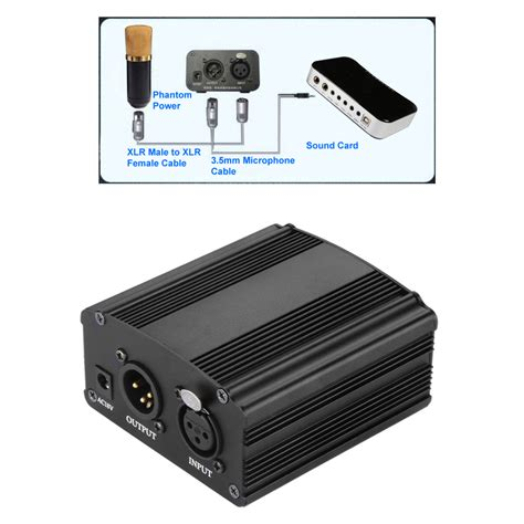 condenser microphone needs phantom power 1 channel 48v volt dc phantom power supply unit for condenser microphone mic ebay