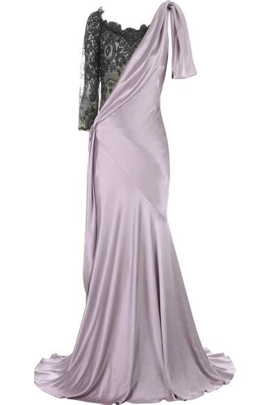 Mcqueens Mcq Lace Insert Evening Gown by Mcqueen Lace Insert Evening Gown Net A