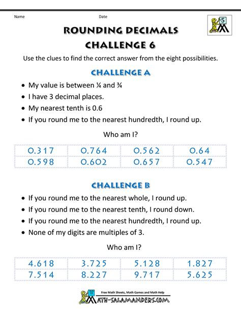 Rounding Decimals Worksheet With Answers by Rounding Decimals Worksheet Challenges