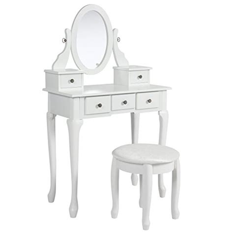 White Vanity Table Set Jewelry Armoire Makeup Desk Bench Drawer by Best Choice Products Vanity Armoire Makeup Table Set