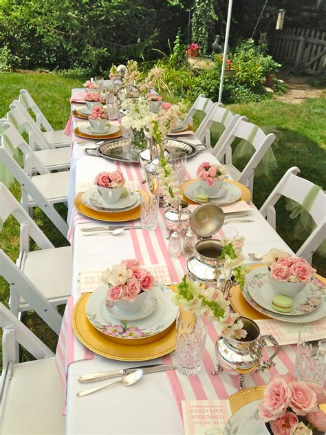 tea table decorations luncheon pink stripe runner table top