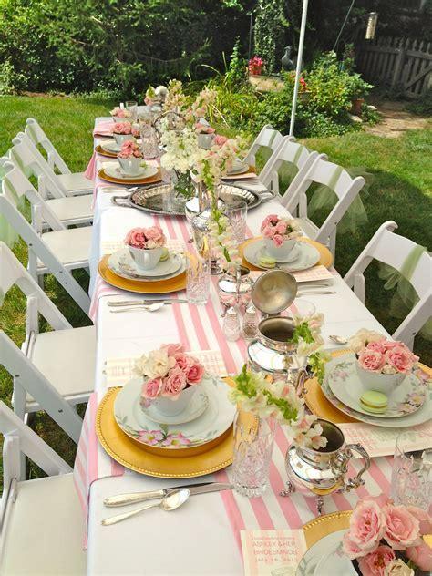 ladies luncheon   pink stripe runner   TABLE TOP   Tea