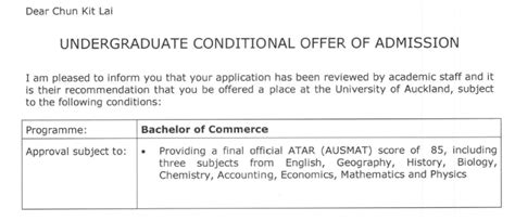 Conditional Offer Letter New Zealand Ck Junjie Kit Chunkit Ahkit Jj Kitzhai Auckland S Conditional Offer Letter Xd