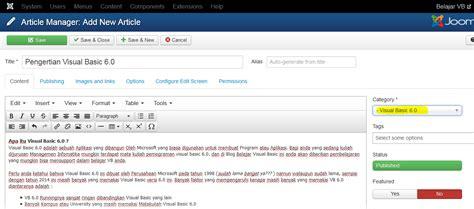 Membuat Artikel Pada Joomla 3 | cara membuat artikel pada joomla 3 x belajar vb 6 0 dan