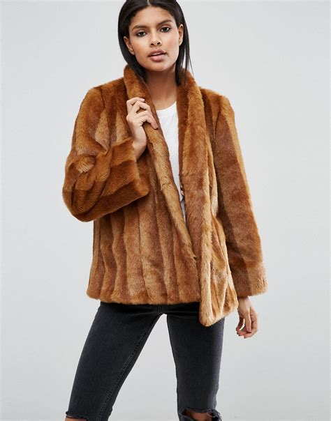 swing fur coat asos luxe faux fur swing coat in brown lyst