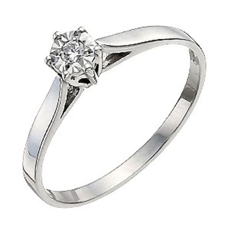 9ct white gold illusion set solitaire ring h samuel