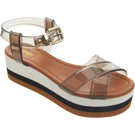 platform sandals fendi translucent platform sandal in transparent