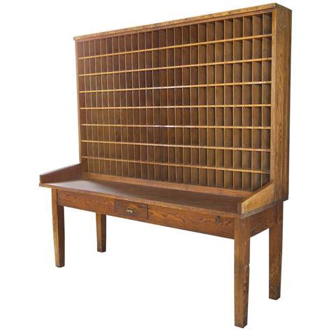 Antique Post Office Desk Antique Industrial Wood Postal Sorting Desk Storage Post Office Side Table At 1stdibs