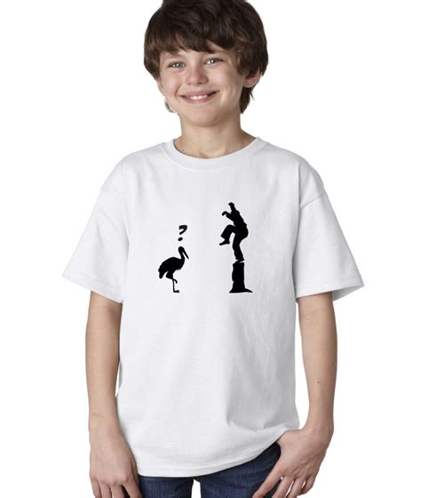 T Shirt Kid 4 boys childrens crane kick pose master karate kid t shirt