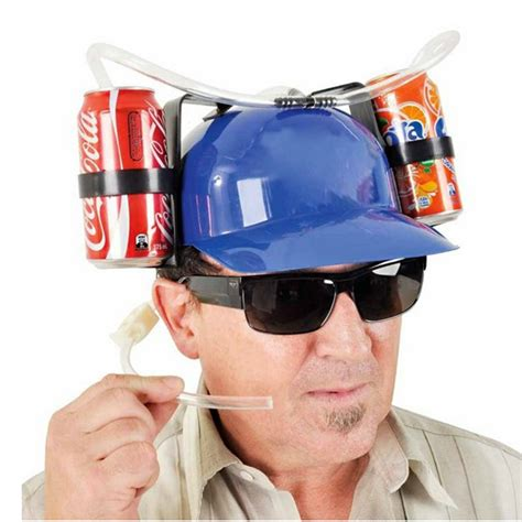 How To Make A Soda Hat Out Of Paper - creative hat helmet soda dual can straw